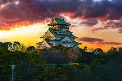 Изумительное изображение захода солнца замка Осака стоковые фотографии rf