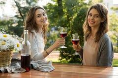 Изумительные детеныши 2 женщины сидя outdoors в вине парка выпивая Стоковое Изображение