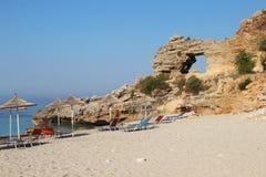 Изумительные пляжи Dhermi, Албании Стоковая Фотография