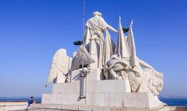 Изумительные статуи на верхней части известной улицы Augusta сгабривают в Лиссабоне - ЛИССАБОНЕ - ПОРТУГАЛИИ - 17-ое июня 2017 стоковые изображения rf