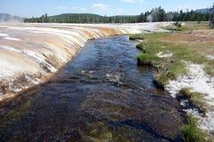 Изумительные цвета должные к залежам полезных ископаемых на мамонтовом горячем источнике Стоковые Изображения