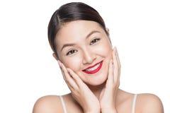 Изумительный азиатский портрет женщины ретро составляет красные губы с совершенным Стоковые Фото