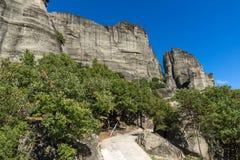 Изумительный ландшафт образования утесов около Meteora, Греции Стоковое Изображение RF