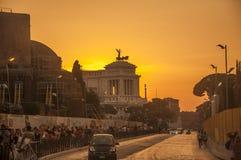 Изумительный заход солнца в Риме Стоковые Изображения