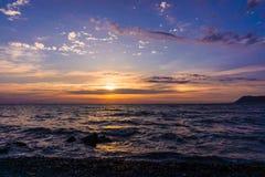 Изумительный заход солнца лета красивейший заход солнца ландшафта Стоковые Изображения