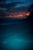 Изумительный заход солнца пляжа моря Стоковая Фотография RF