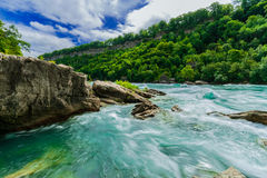 Изумительный шикарный взгляд реки Ниагарского Водопада с словоизвержением воды скачком изменяет направление стоковая фотография rf