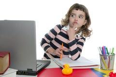 изумленная девушка жеста компьютера смотря экран Стоковое Фото