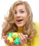 изумленная девушка пасхальныхя подростковая Стоковая Фотография