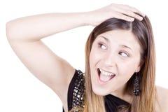 изумленная девушка счастливая Стоковая Фотография