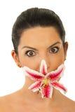 изумленная женщина рта цветка Стоковое фото RF