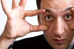 изумленный удивленный человек больших глаз смешной Стоковые Изображения RF