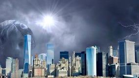 Изумляя анимация города фантазии, анимация Нью-Йорка фантазии Апокалипсис Нью-Йорка иллюстрация штока