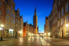 Изумляя архитектура старого городка в Гданьск на зоре, Польша стоковое изображение rf
