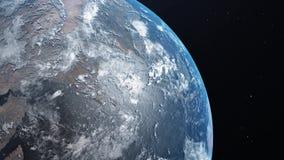 Изумляя взгляд земли планеты от космоса Реалистическая 3D анимация 4K иллюстрация вектора