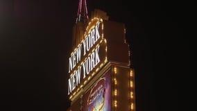 Изумляя гостиница Лас-Вегас Нью-Йорка NY на ноче - США 2017 акции видеоматериалы