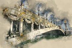 Изумляя мост Александра III в городе Парижа стоковое изображение rf