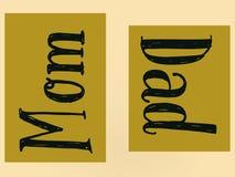 Изумляя обои семьи слова мамы и папы с желтым цветом бесплатная иллюстрация