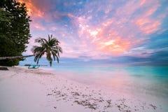 Изумляя пляж захода солнца в Мальдивах Тропический ландшафт с мечтательным небом и тропический ландшафт стоковая фотография rf