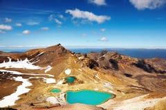 изумрудные озера Новая Зеландия Стоковая Фотография