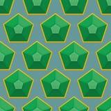 Изумрудная безшовная картина Предпосылка вектора зеленых самоцветов Стоковое фото RF