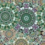 Изумрудно-зеленая безшовная картина в восточном стиле, turkish, индейце, Пакистане или китайском оборачивать с мандалами флористи Стоковое Изображение RF
