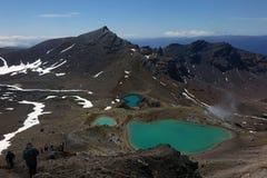Изумрудные озера на скрещивании Tongariro Стоковая Фотография RF