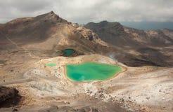 Изумрудные озера Скрещивание Tongariro Стоковые Изображения RF