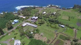 Изумляя воздушная съемка 4k линии побережья океана тропического парка поля зеленого цвета Мауи гаваиского острова темносиней подп акции видеоматериалы