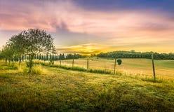 Изумляя тосканский восход солнца Стоковое Изображение