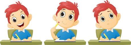 Изучать мальчика шаржа Стоковые Изображения