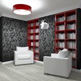 Изучая комната с 2 креслами Стоковое Изображение