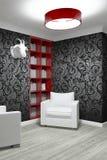 Изучая комната с 2 креслами Стоковые Фотографии RF