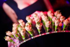 Изысканные очень вкусные блюда и ресторанное обслуживаниа еды (кухня фьюжн) Стоковые Фотографии RF