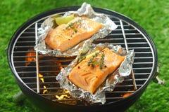 2 изысканных salmon котлеты жаря на огне Стоковое Изображение