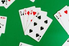 4 из вида 6, карточка покера Стоковые Изображения RF