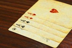 5 из вида aces комбинация покера Стоковые Фото