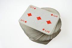 3 из диамантов вверху играть пакет перфокарт Стоковые Изображения