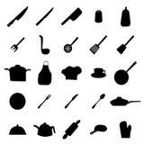 Изделия кухни и силуэты утварей иллюстрация штока