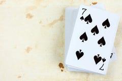 7 из карточки лопат играя Стоковое Изображение RF