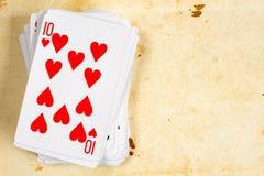 10 из карточки сердец играя Стоковые Изображения