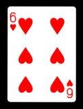 6 из карточки сердец играя, Стоковые Фотографии RF