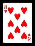 8 из карточки сердец играя Стоковые Изображения RF