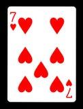 7 из карточки сердец играя, Стоковые Изображения