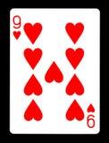 9 из карточки сердец играя, Стоковые Изображения RF