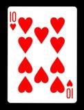 10 из карточки сердец играя, Стоковые Изображения RF