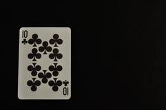 10 из клеверов изолированных на черной предпосылке Стоковые Фотографии RF
