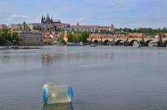 10 из могут, 2016 Редакционное фото замка Праги с мостом Charlese и рекой Влтавы Прага взгляд городка республики cesky чехословак Стоковые Фотографии RF