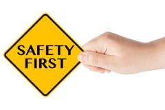 из первых рук движение знака безопасности Стоковое Изображение RF