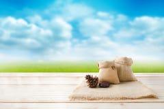 2 из пустых конусов сумки и сосны мешка пеньки на деревянном floo столешницы Стоковые Изображения